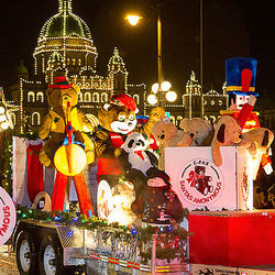 C-FAX Santas Anonymous float in front of the Victoria Legislature buildings during the Island Farms Santa Claus Parade.
