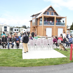 Gathering for the Salish Seaside RV Haven opening ceremony