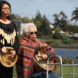 Traditional Songhees singing and drumming at the Salish Seaside RV Haven opening ceremony