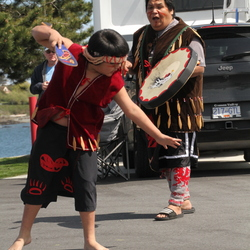 Traditional Songhees cultural dance at the Salish Seaside RV Haven opening ceremony